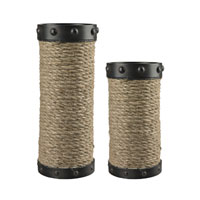 Sterling Industries Set of 2 Natural Rope Wrapped Candle Holders in Aged Bronze And Natural Rope 129-1035
