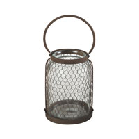 Sterling Industries Glass& Wire Mesh Hurricane (Lg) in Rust / Clear 129-1039