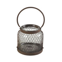 Sterling Industries Glass & Wire Mesh Hurricane (Sm) in Rust / Clear 129-1040