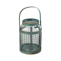 Sterling Industries Glass & Metal Mesh Hurricane in Rimrock Blue 129-1041