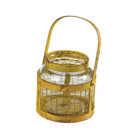 Sterling Industries Glass & Metal Mesh Hurricane in Rimrock Yellow 129-1042 photo thumbnail