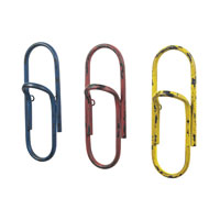 Sterling Industries Set of 3 Paper Clip Hooks in Bassit Blue / Yellow / Red 129-1046