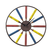 Sterling Industries Pencil Clock in Bassit Blue / Yellow / Red 129-1049