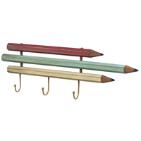 Sterling Industries Pencil Coat Hook (Sm) in Bassit Pastel Blue / Yellow / Red 129-1050