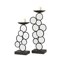Sterling Industries Set of 2 Iron And Mirror Candle Holders in Belem Black / Mirror 129-1057