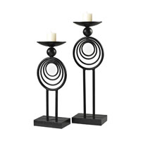 Sterling Industries Set of 2 Iron And Mirror Candle Holders in Belem Black / Mirror 129-1058