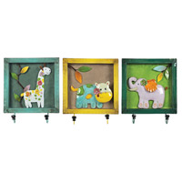 Sterling Industries Set of 3 Animal Picture Hook in Impact Yellow / Teal / Green 129-1075