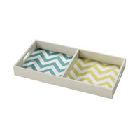 Sterling Chevron Tray in Off White With Chevron Print 129-1098