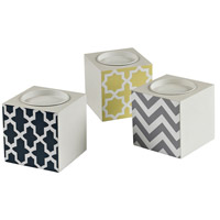 Signature Off White With Chevron Print Candle Holder