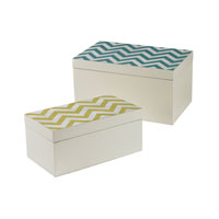 Sterling Signature Box in Off White With Chevron Print 129-1100/S2