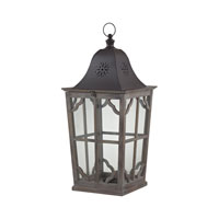 High Green 14 inch Wood Tone With Dark Brown Cap Lantern Ceiling Light