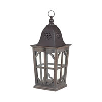 High Green 10 inch Wood Tone With Dark Brown Cap Lantern Ceiling Light