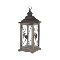 Edlington 10 inch Wood Tone With Dark Brown Cap Lantern Ceiling Light
