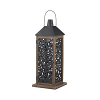 Darfield 12 inch Wood Tone With Black Metal Work Lantern Ceiling Light