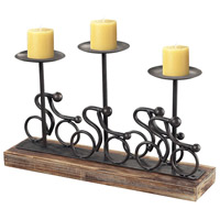 Altringham Pewter on Brunished Wood Tone Base Candle Holder