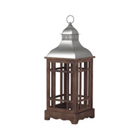 Poynton 12 inch Natural Wood Tone With Stainless Steel Lantern Ceiling Light