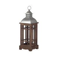 Sterling Poynton Lantern in Natural Wood Tone With Stainless Steel 138-037