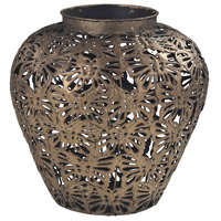 Sterling Rainford Vase in Gold Leaf Base With Heavy Brown Antique Wash 138-043
