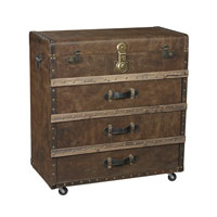 Sterling Pelican Harbor Accent Chest in Leather Tone Fabric with Dark Brown 138-085
