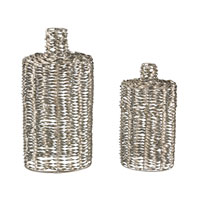 Sterling Set of 2 Metal Work Vase in Silver 138-108/S2