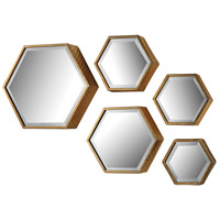 Hexagonal 16 X 14 inch Gold Mirror Home Decor