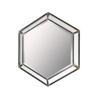 Hexagonal 27 X 24 inch Burnished Metal Wall Mirror Home Decor