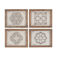 Sterling Set of 4 Wirework Wall Art in Distressed Oak 138-177/S4