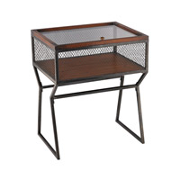 Curio 28 X 22 inch Aged Iron and Mahogany Accent Table Home Decor