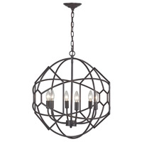 Strathroy 6 Light 21 inch Aged Bronze Chandelier Ceiling Light