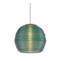 Signature 1 Light 13 inch Green and Pink and Yellow Spun Acrylic Pendant Ceiling Light