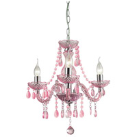 Theatre 3 Light 16 inch Purple and Chrome Chandelier Ceiling Light