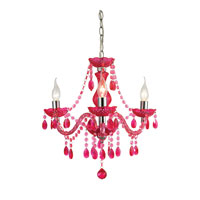 Sterling Theatre 3 Light Chandelier in Cerise Pink and Chrome 144-014