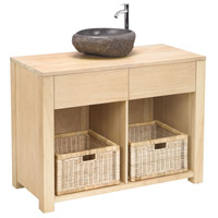 Elegance Light Natural Wood Tone Cabinet Vanity with Sink