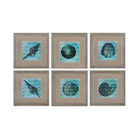 Sterling Set of 6 Chevron Shell Framed Art in Washed Wood 151-004/S6