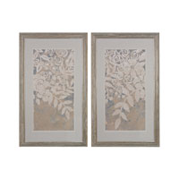 Sterling Set of 2 Linen Chintz Framed Art in Washed Wood 151-005/S2