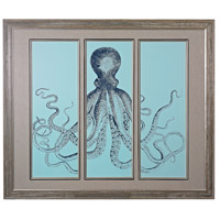 Octopus Tryptich Washed Wood Framed Art