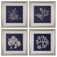 Sterling Set of 4 Seaweed on Navy Framed Art in Silver 151-021/S4