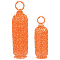 Sterling Set of 2 Lidded Ceramic Jar in Tangerine Orange 152-003/S2
