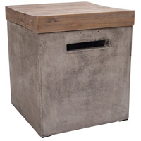 Midwest 16 inch Silver Brushed Wood Tone with Waxed Concrete Side Table