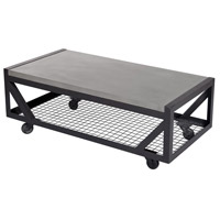 Mina 48 X 17 inch Polished Concrete And Anthracite Coffee Table