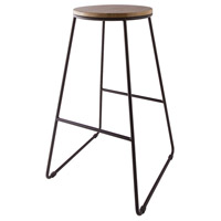 Rudolfo 28 inch Black Iron and Natural Wood Stain Bar Stool