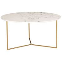 Sterling 1572-019 Glacier 32 X 32 inch Gold and White Printed Marble Coffee Table Home Decor