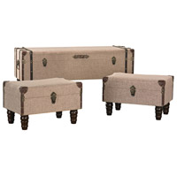 Sterling Set of 3 Travelers Trunk in Sand Linen and Brown 170-002/S3