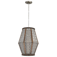 Sterling Metalwork 1 Light Pendant in Nickel and Wood 172-004