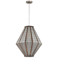 Metalwork 3 Light 17 inch Nickel and Wood Pendant Ceiling Light