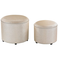 Sterling Set of 2 Metallic Ottoman in Cream Metallic Linen 180-006/S2