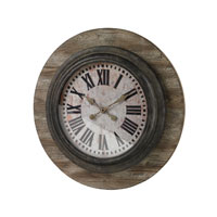 Sterling Industries Wood And Metal Wall Clock in Belport Wood with Smithtown Bronze  26-8642