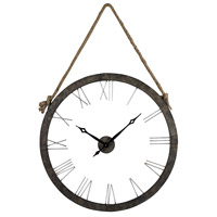 Hung On Rope Metal Wall Rustic Iron and Silver  Clock