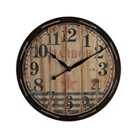 Sterling Industries Wooden Clock in Black and Natural Wood 26-8644
