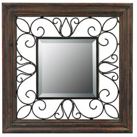 Wood Framed 19 X 19 inch Redwood and Iron Wall Mirror